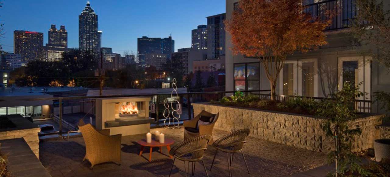 131 Ponce Midtown Apartments Atlanta, GA Outside Rooftop Fireplace