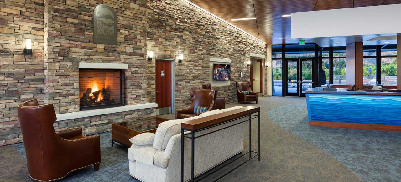 East Valley Water District Headquarters Facility Highland, CA Interior Waiting Area Fireplace